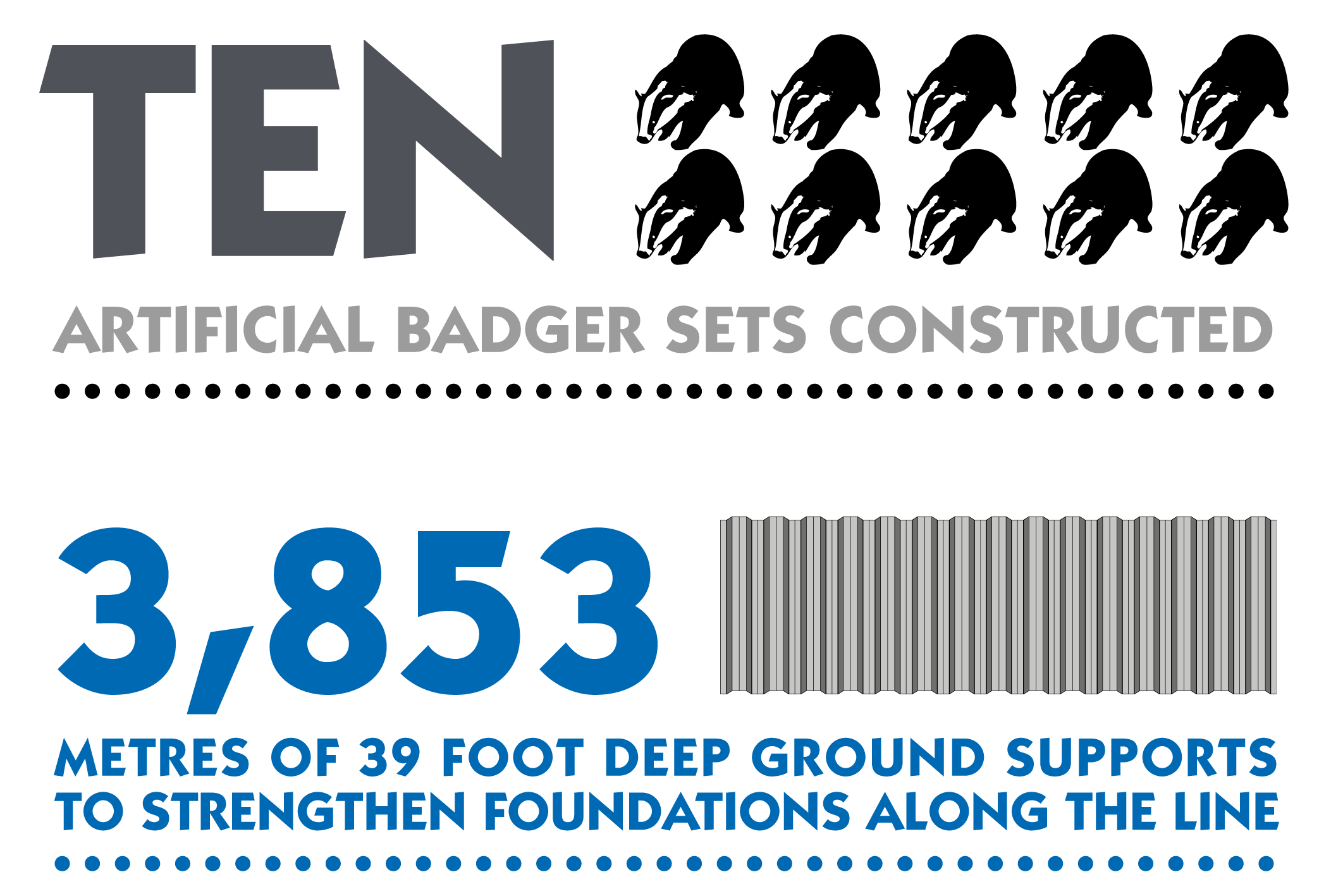 Ten Artificial badger sets constructed