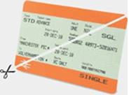 Example of a ticket cut in half