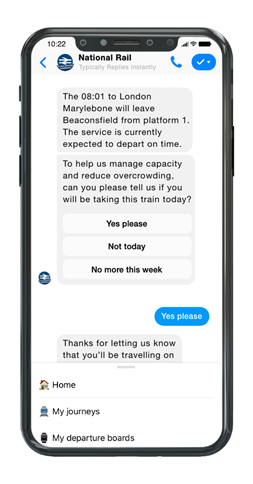 People can stay updated about their journey by National Rail on the 'Alert me by Messenger app