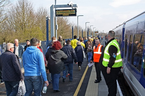Customers and staff at Oxford Parkway Station