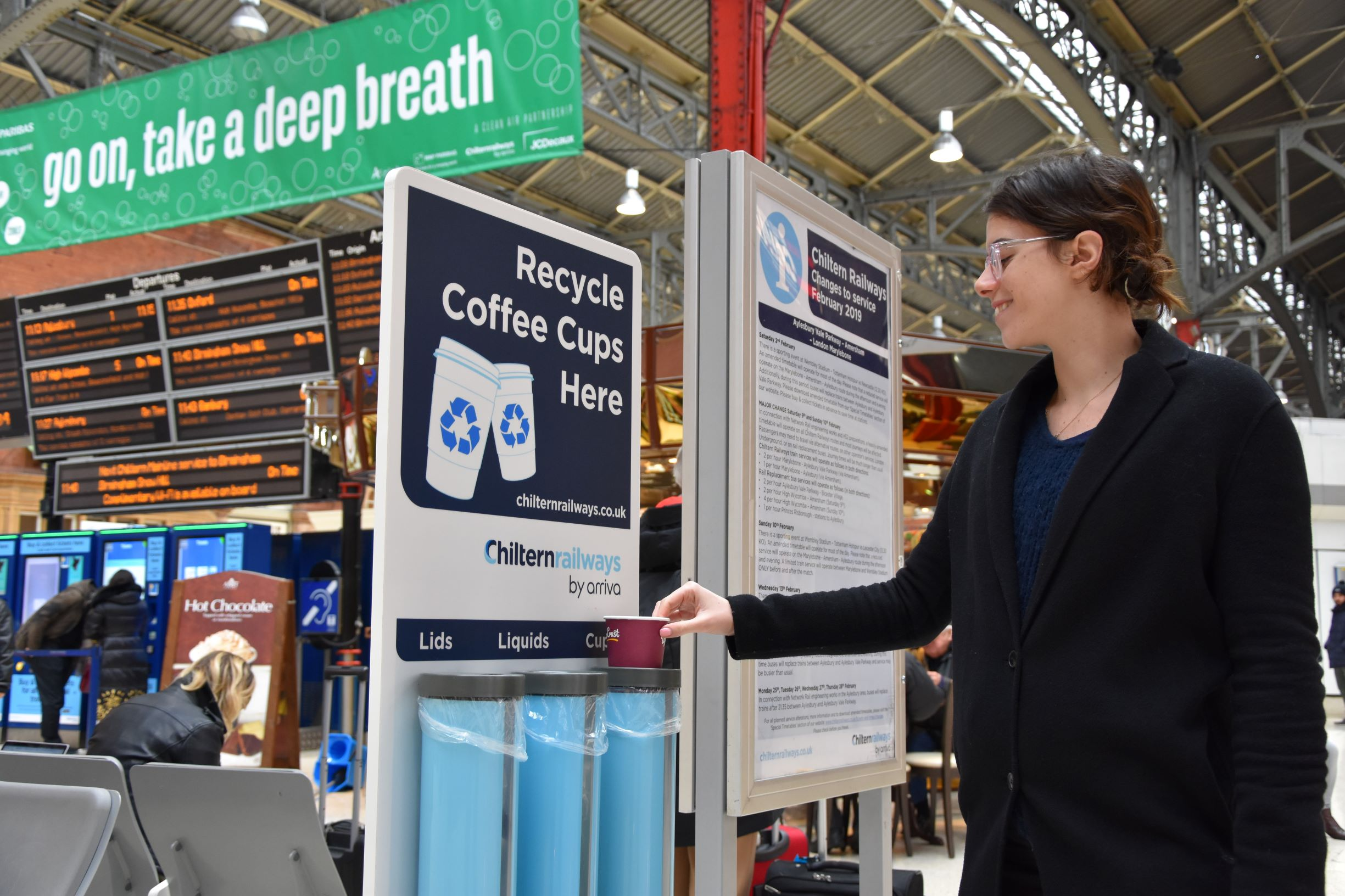 Chiltern Railways fast-track coffee cup recycling at stations