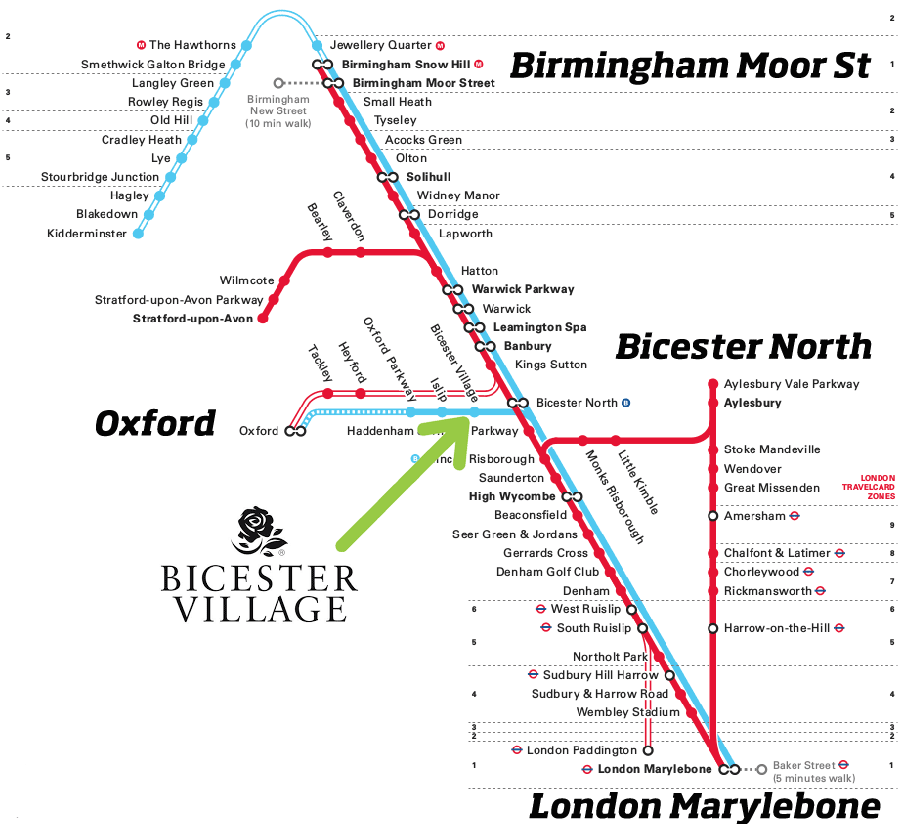 Bicester Village Map Getting to Bicester Village by Train | Chiltern Railways Bicester Village Map