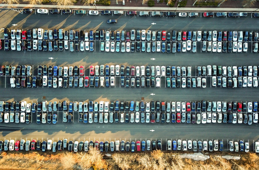 Ariel view of cars