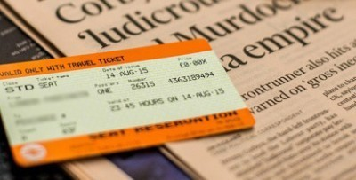 Chiltern Railways ticket laying on a newspaper